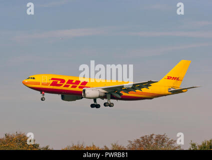 European Air Transport Airbus A300B4-203(F) landing at London Heathrow airport. - Stock Photo