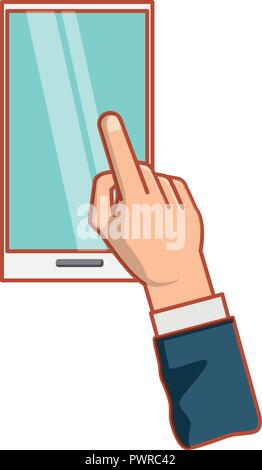 hand with smartphone device isolated icon vector illustration design - Stock Photo