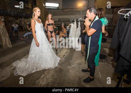 Backstage at Art Hearts Fashion show - LA Fashion Week - 10/14/2018 at The Majestic, downtown Los Angeles, California, USA - Stock Photo
