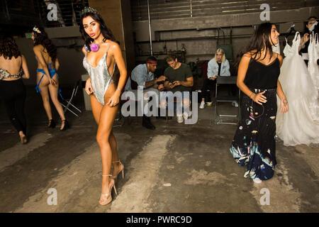 Natalia Kelman, Backstage at Art Hearts Fashion show - LA Fashion Week - 10/14/2018 at The Majestic, downtown Los Angeles, California, USA  @supernata - Stock Photo