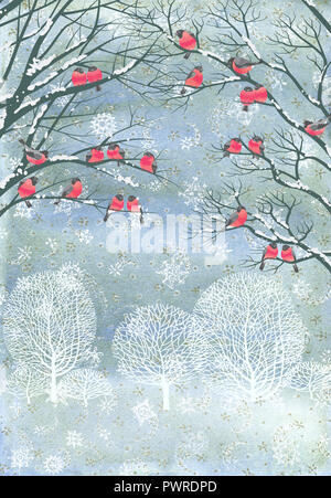 Composition from watercolor background with snowflakes and vector flock of bullfinches perching on the branches of a trees - Stock Photo