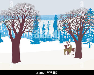 Winter landscape with two deers in a snowy forest - Stock Photo