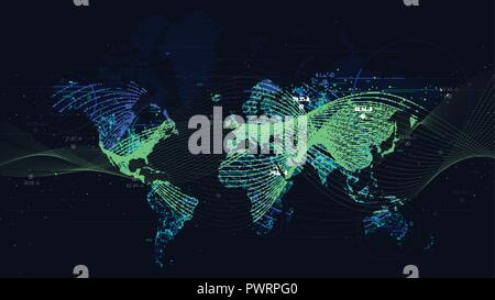 Abstract vector background with dynamic waves, big data visualization with a world map futuristic presentation image - Stock Photo