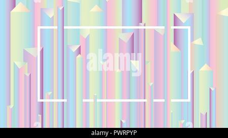 Colorful abstract vivid holographic style gradients backgrounds, vector pyramid pattern template for your design - Stock Photo