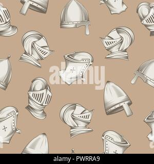 Seamless pattern with medieval helmets, sketch style engraving, vector illustration template for your design - Stock Photo