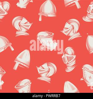 Vector seamless pattern with medieval helmets, sketch style engraving template for your design - Stock Photo