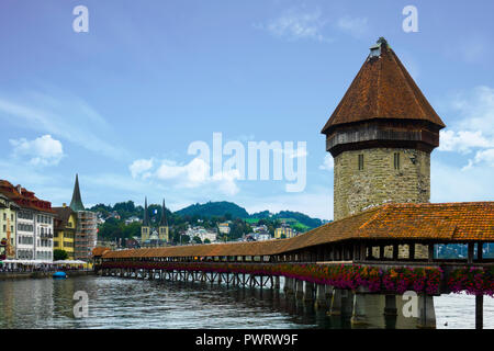 Scenic view of Chapel Bridge and Water Tower. Lucerne, Switzerland. - Stock Photo