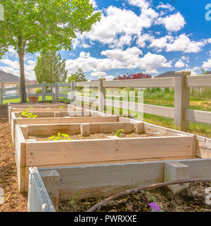 Backyard with seedling boxes and a scenic view - Stock Photo