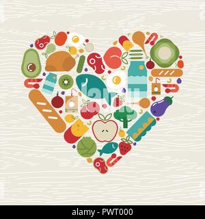 Food icons making heart shape for healthy eating or balanced nutrition concept. Includes fruit, vegetables, meat, bread and dairy. - Stock Photo