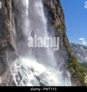 Cascading powerful water of Yosemite Falls closeup - Stock Photo