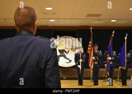 """25th Space Range Squadron collectively celebrate the squadron's 100th birthday during the 25 SRS Centennial Dinner Banquet at Peterson Air Force Base, Colorado, Wednesday, June 21, 2017. The 25 SRS extended invitations to any and all """"Executioners"""" to celebrate this momentous milestone. - Stock Photo"""
