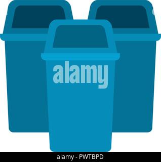 blue trash can isolated icon - Stock Photo