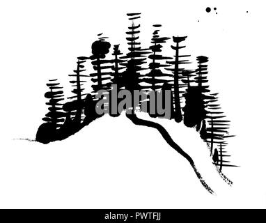 A black and white Chinese style ink painting, abstract trees made up by brush strokes, on a white background with copy space - Stock Photo