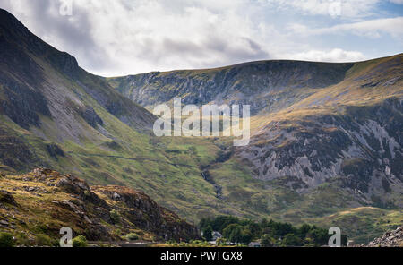 Beautiful detail landscape image of mountain of Tryfan near Llyn Ogwen in Snowdonia during early Autumn - Stock Photo