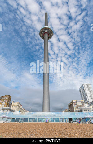 British Airways i360 Observation Tower with blue sky in Autumn in Brighton, East Sussex, England, UK. Wide angle portrait. - Stock Photo