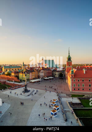 Elevated view, Castle Square with Royal Castle, Old Town, Warsaw, Masovian Voivodeship, Poland - Stock Photo
