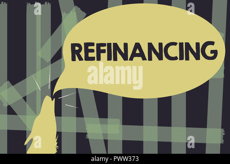 Writing note showing Refinancing. Business photo showcasing Finance again with new loans at a lower rate of interest. - Stock Photo