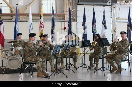 """U.S. Army Alaska's 9th Army Band performs """"The Army Song"""" in honor of Incoming U.S. Army Alaska Aviation Task Force Commander Col. Glen Heape June 29 at Fort Wainwright, Alaska. - Stock Photo"""