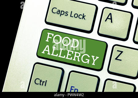 Handwriting text writing Food Allergy. Concept meaning Immune system reaction that occurs after eating a certain food. - Stock Photo