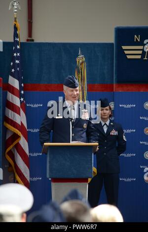 Col. Joel Carey, 12th Flying Training Wing commander, provides opening remarks during the 479th Flying Training Group change of command ceremony June 30, 2017 at the National Naval Aviation Museum, Naval Air Station Pensacola, Fla. - Stock Photo