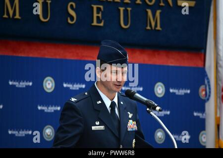 Col. Charles McElvaine, 479th Flying Training Group commander gives his remarks during a change of command ceremony after assuming command June 30, 2017 at the National Naval Aviation Museum, Naval Air Station Pensacola, Fla. - Stock Photo