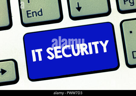 Handwriting text It Security. Concept meaning Protection of internet connected systems from cyber attacks. - Stock Photo