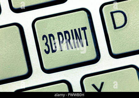 Handwriting text 3D Print. Concept meaning Printing tridimensional things Advanced Manufacture technology. - Stock Photo
