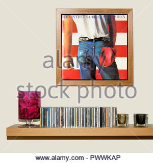 CD Collection and framed Bruce Springsteen Album Born in the USA, England - Stock Photo