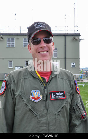 Pilot Mike Maeder of Strike Eagle Demo Team, pilot of US Air Force McDonnell Douglas F-15 Eagle jet fighter plane for airshow displays. USAF - Stock Photo