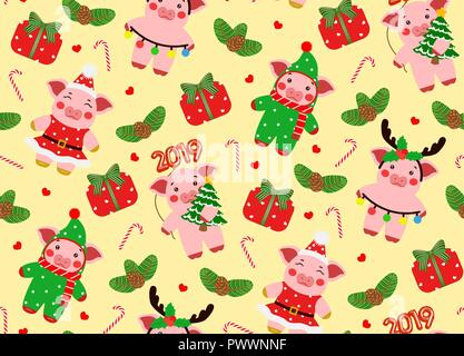 Seamless pattern little pig, piggy characters illustration. Happy new year - Stock Photo