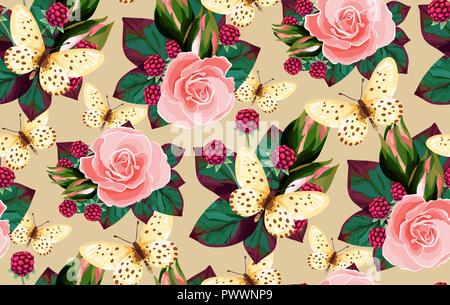 Vector floral  seamless pattern flowers and butterflies. Wedding roses, berry, butterfles illustration - Stock Photo