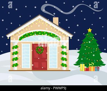 Christmas house with New Year decoration. Winter holidays. Christmas wreath. Flat winter vector illustration. Christmas tree with gifts. - Stock Photo