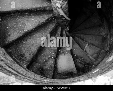 Castle turret stairs in black and  white - Stock Photo