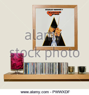 CD Collection and framed Sound track from the film A Clockwork Orange, England - Stock Photo