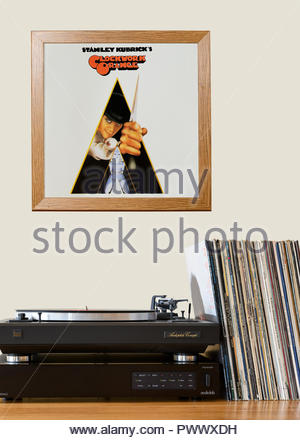 Record player and framed album cover Sound track from the film A Clockwork Orange, England - Stock Photo