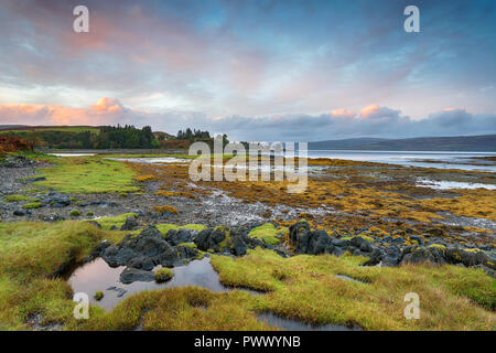 Sunset over the Sound of Mull near Salen on the Isle of Mull in Scotland - Stock Photo