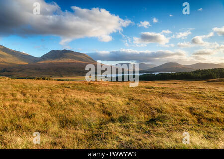 Loch Tulla from the viewpoint near the Bridge of Orchy in Scotland - Stock Photo