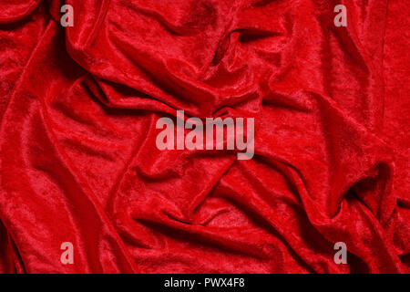 luxury red panne velvet drape background texture - Stock Photo