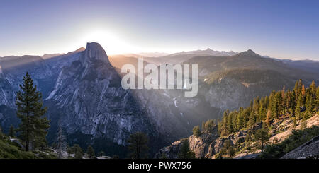 Striking mountain and Yosemite Falls in California - Stock Photo