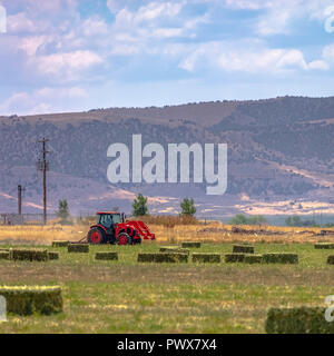 Tractor and power lines on a field in Utah Valley - Stock Photo