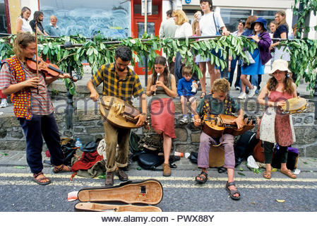 Travellers at the Golowan Festival in Penzance. Cornwall, great britain - Stock Photo