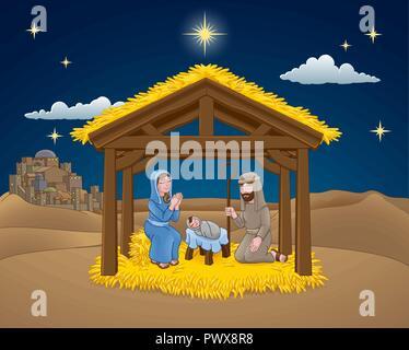Nativity Christmas Scene Cartoon  - Stock Photo