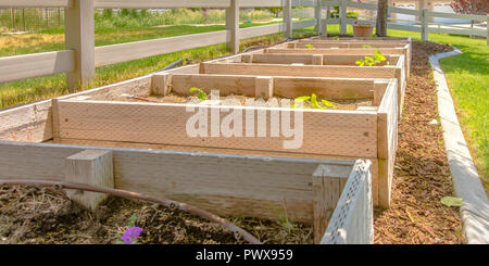 Wooden seddling boxes beside a fence in a backyard - Stock Photo
