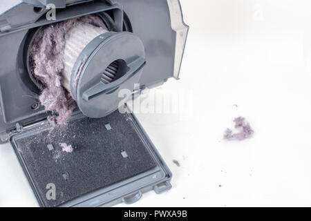 Common household dust on HEPA (High efficiency particulate air) filter from the vacuum cleaner. high angle view, isolated on a white background - Stock Photo