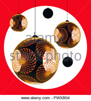 Asian style lanterns Christmas balls card in bright red gold black shades - Stock Photo
