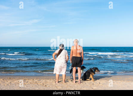Dog walkers on beach. Man and woman looking left, dogs looking right. - Stock Photo