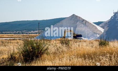 Power shovel machinery in front of a large mountain of salt - Stock Photo