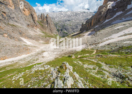Aerial view of the steep hiking trail leading up the pass. Rocky peaks and plateau around the Italian Dolomites, rocks and boulders. - Stock Photo
