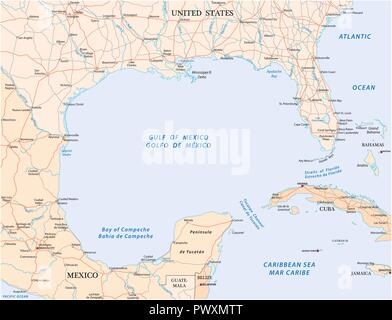 gulf of mexico road vector map. - Stock Photo