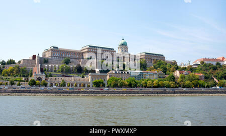 Budapest, Hungary -  5 august, 2018: view from Danube river of the Buda Castle was listed by UNESCO as a World Heritage Site in 1987. - Stock Photo